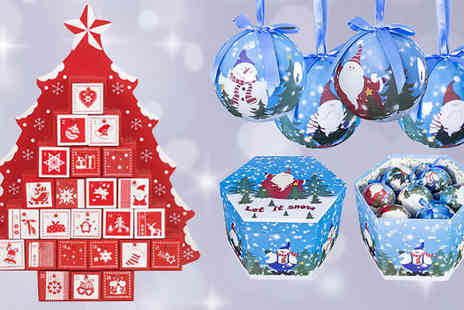 Hungry Bazaar - Nordic Style Wooden Advent Calendar and 14 Piece Bauble Box Set - Save 70%