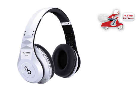 Gift Mountain - Pair of Nu Bass One wireless bluetooth headphones available in white - Save 50%
