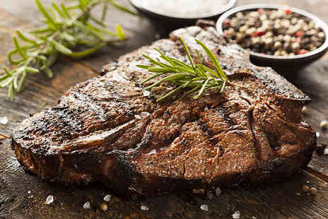 Queens Cafe Bar - 10oz. Porterhouse steak meal for two with onion rings, choice of potatoes, sauce and a glass of wine each - Save 53%