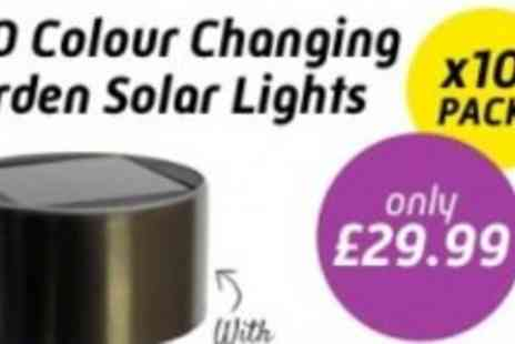 Led Hut - 10 x High Quality Colour Changing LED Solar Lights - Save 40%