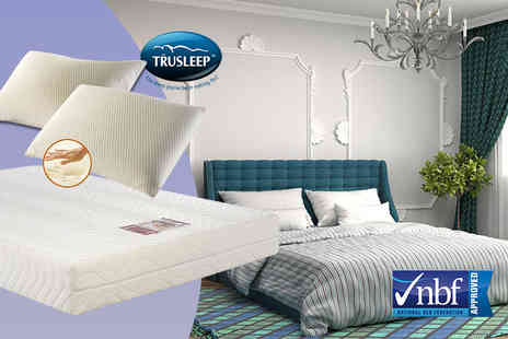 Trusleep - Single memory foam mattress and pillow  small double or double with two pillows, £99 for a king size - save up to 76% - Save 76%