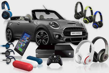 Deals Direct - he Ultimate Mystery Deal for products include a MINI COOPER, ROAM and JVC Headphones, an XBOX One, Ministry of Sound Speakers and more - Save 0%