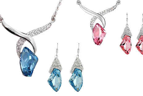 Crazee Trend - 18K White Gold Plated Crystal Drop Set - Save 84%
