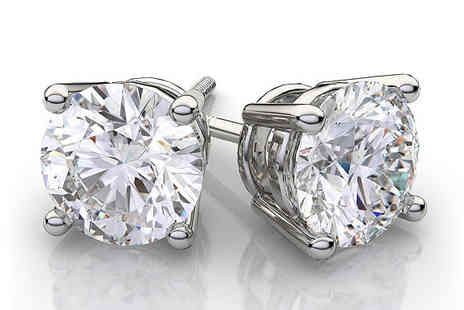 Voodoo Black - 18K White Gold Plated Zirconia Crystal Studs - Save 74%