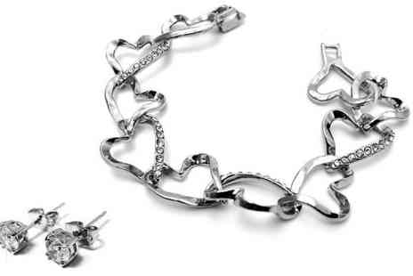 Voodoo Black - 18K White Gold Plated Heart Set with Earrings and Bangle - Save 81%