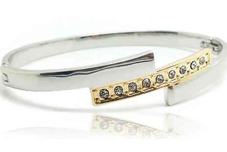 Voodoo Black Ltd - 18K White Gold Plated and Pave Crystal Bar Bangle - Save 82%