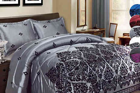 luxury bed and warehouse - Luxury Three Piece Damask Duvet Set Available in Five Colours - Save 64%