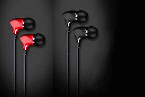 eOutlet - Pair or Hednoise in ear earphones with in built mic choose from black or red - Save 81%