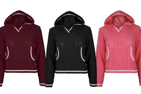 Groupon Goods Global GmbH - Cable Knit Copped Hooded Jumper - Save 1%