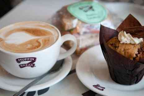 Muffin Break - Hot Drink with Freshly Baked Muffin or Cake Slice for One or Two - Save 39%