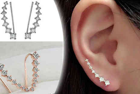 Crazee Trend - Crystal Climber Cuff Earrings Available in Two Colours - Save 80%