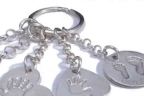 Zebra Ceramics - Personalised silver handprint or footprint keyring with a charm  the perfect gift - Save 59%
