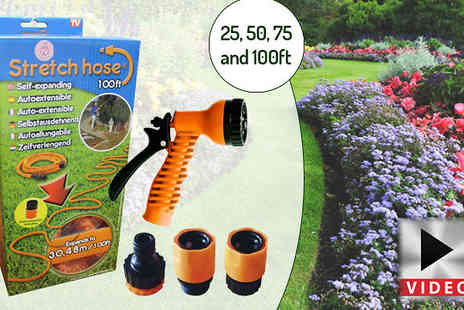 Internet Shop - Extendable Garden Stretch Hose & Spray Nozzle 25ft to 75ft - Save 71%