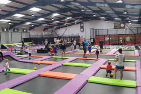 Jump Factory - One Hour Term Time Trampoline Access with Grip Socks Hire for One, Two or Four - Save 17%