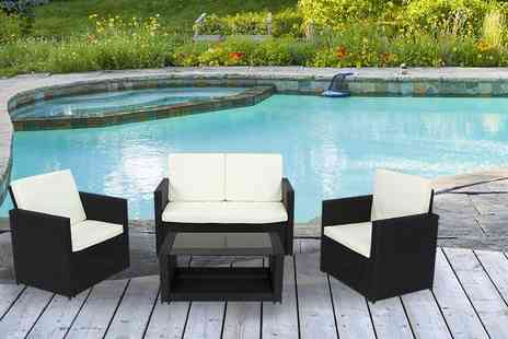 EveMotion GmbH - A four piece Miami rattan garden furniture set select from three colours - Save 55%