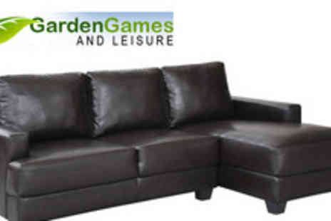 Garden Games - Faux leather Riga corner sofa - Save 70%