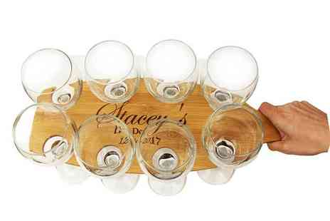 CNC Group - Personalised bamboo event paddle and eight wine glasses - Save 44%
