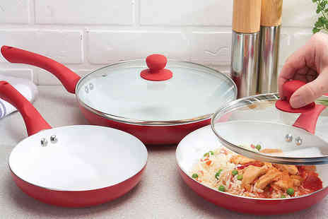 Jean Patrique - Three piece ceramic pan set choose from three colours - Save 84%