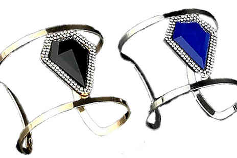 Voodoo Black - Swarovski Elements Contemporary Bangle Gold Or Silver Plating - Save 82%