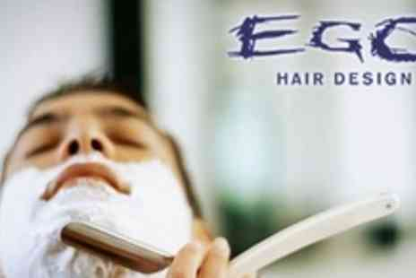 Ego Hair Design - Male Grooming Package With Hot Towel Straight Razor Shave, Haircut and Indian Head Massage - Save 50%