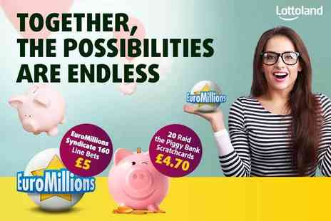 Lottoland - 20 scratchcards and 160 EuroMillions syndicate bets - Save 59%