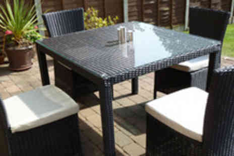 Garden Games - Rattan and glass table with 4 chairs & cushions - Save 65%