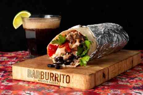 Barburrito - Regular Burrito and Tortilla Chips with Drink or Beer and Dip for One or Two - Save 51%