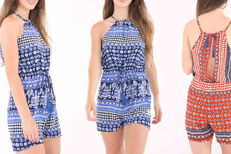 Verso Fashion - Printed Summer Playsuit in 2 Colours - Save 55%