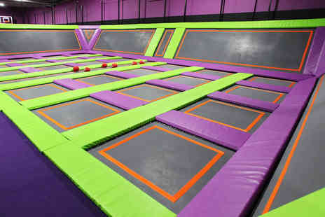 Atom Trampoline Park - One hour entry to Atom Trampoline Park two people including special grip socks - Save 25%
