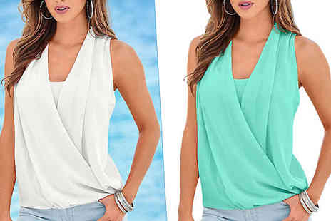 Trifolium - Chiffon Sleeveless Top available 2 Colours - Save 63%