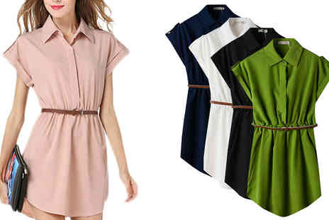 Trifolium - Belted Shirt Dress Available in 5 Colours - Save 83%