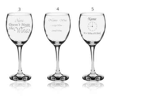 CNC Group - Personalised wine glass in a gift box choose from five designs - Save 50%