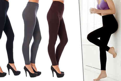 121 Mart - Cosy Fleece Lined Leggings Available in 3 Colours - Save 70%
