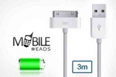 Mobileheads -  Three  3 Metre iPad and iPhone USB Charging and Syncing Cables - Save 50%
