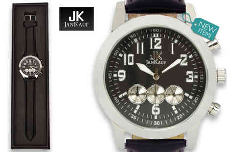 Jan Kauf - Mens Jan Kauf luxury black leather JK1035 watch - Save 87%