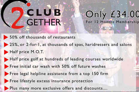 Club 2gether - Membership for Tastecard, Halfords and many more - Save 62%