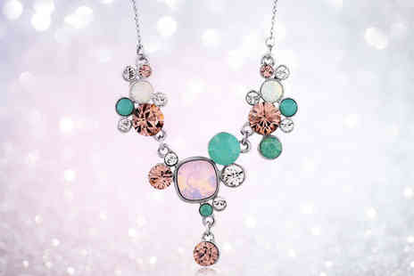 Fakurma - Crystal iridescent statement necklace - Save 93%