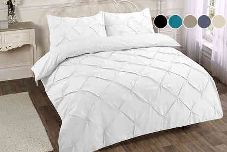 Omeco Limited - Single, double king or super king size pintuck duvet cover set - Save 64%