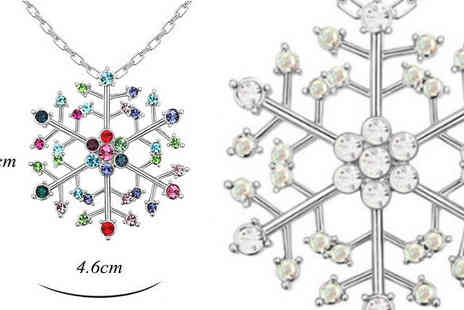 Fakurma - Winter Wonderland Snowflake Necklace Choose 2 Colours - Save 90%