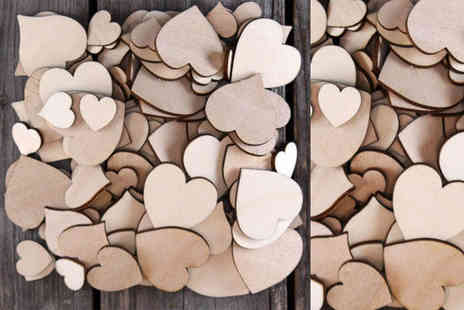 Alvis Fashion - Pack of 50 or 100 plywood hearts - Save 87%