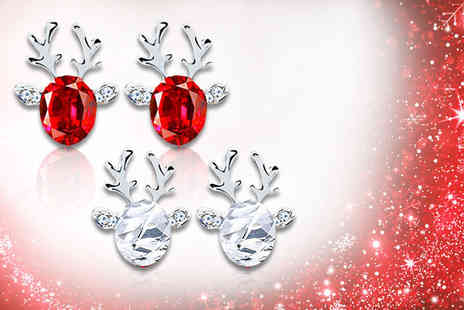 Alvis Fashion - Pair of crystal reindeer earrings choose from two colours - Save 90%