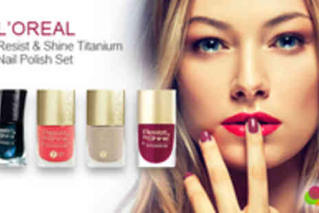 JustShe Cosmetics - LOreal Resist & Shine Titanium Nail Polish Set in Four Colours - Save 69%
