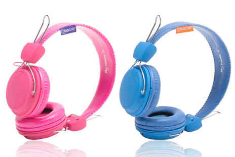 eOutlet - Pair of sticker customisable KidzSafe headphones choose blue or pink - Save 55%