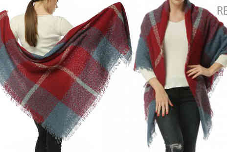Pearl Info - Ladies Tasselled Plaid Scarf Available in Six Colours - Save 62%