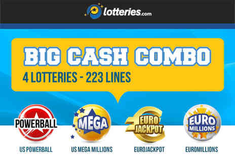 Lotteries - 223 syndicate lines in the Mega Millions, US PowerBall, Euro Millions and EuroJackpot - Save 79%
