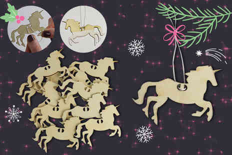 Alvis Fashion - Pack of 10 customisable unicorn Christmas tree decorations - Save 85%