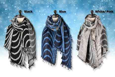 Pearl Info - Wavy pattern soft scarf - Save 71%