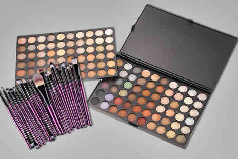 Alvis Fashion - 120 colour eyeshadow palette and 20 piece brush set choose from two colours - Save 87%