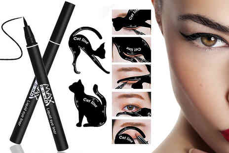 Alvis Fashion - Waterproof black eyeliner pen and cat eye stencil - Save 85%