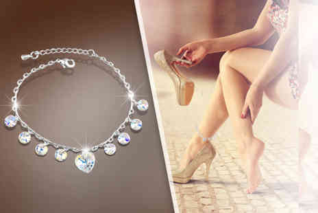 Fakurma - Heart crystal drop anklet - Save 88%